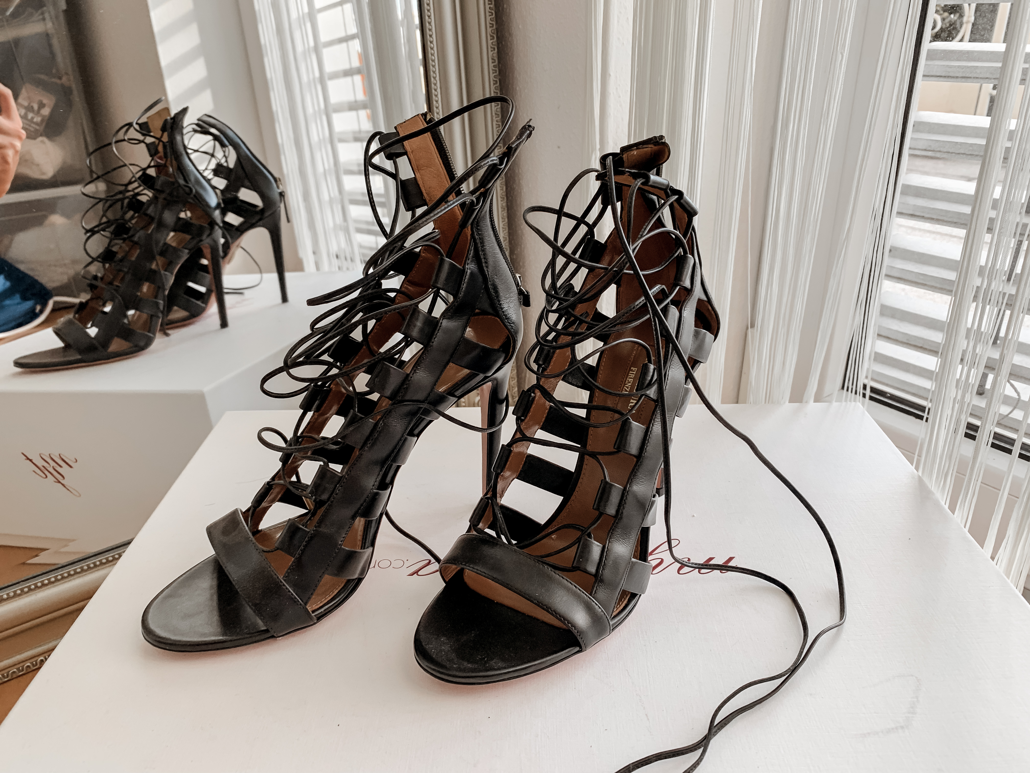 Aquazzura Amazon Sandals in Black Leather